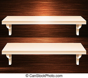 Two Shelves Wooden Background