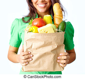 Healthy products - Image of big paper sack full of different...