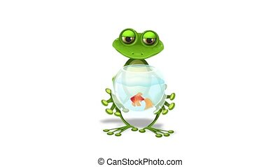 frog and a goldfish - merry green frog and a goldfish