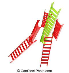 Red and green glossy ladders isolated on white - Growth and...