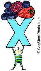Antioxidents - Whimsical illustration of child with letter X...