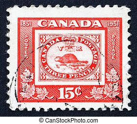 Postage stamp Canada 1951 Stamp of Three penny Beaver -...