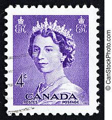 Postage stamp Canada 1953 Queen Elizabeth II, Queen of England