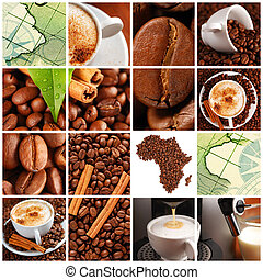Coffee collage - Collage made with coffee beans, cups and...