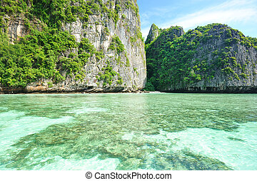 Beautiful lagoon at  Phi Phi Ley island in Thailand