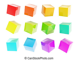 Twelve colorful glossy cubes isolated - Twelve colorful...