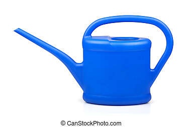 Watering can - Blue plastic watering can on white