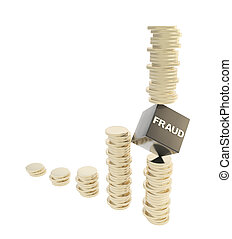 Fraud risk conception as coin piles isolated - Fraud risk...