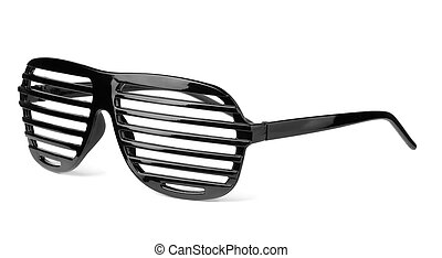 Slatted sunglasses - Black plastic shutter shades slatted...