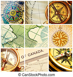 Compass and map collage - Collage with old compasses and...