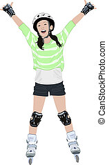 A Young Girl on Roller Blades - A vector illustration of a...