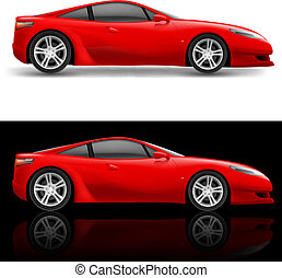 Red Sport Car Icon Illustration on white and black...