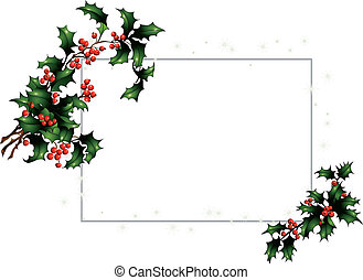 Christmas card with a holly twig