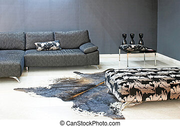 Minimalism couch - Minimalism style of living room in grey