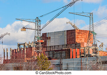 Big construction site at chernobyl