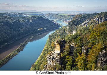 View from viewpoint of Bastei in Saxon Switzerland Germany...