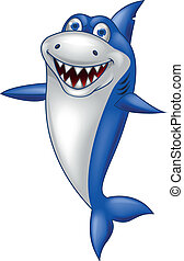 Happy shark cartoon - Vector illustration of happy shark...