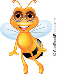 Bee cartoon flying - Vector illustration of bee cartoon...