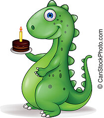 Dinosaur with birthday cake
