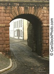 Arch in old city walls at Berwick upon Tweed, England