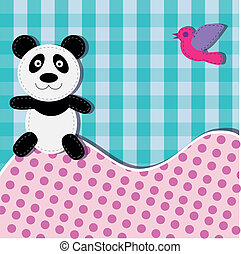 Card with panda bear and bird