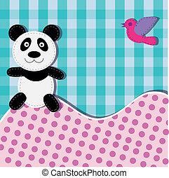 Card with panda bear and bird