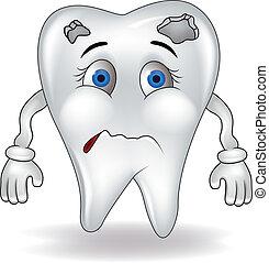 Sad tooth - Vector illustration of tooth cartoon