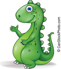 Funny dinosaur cartoon - Vector illustration of funny...
