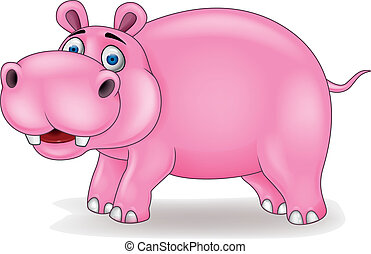 Hippo cartoon - Vector illustration of hippo cartoon