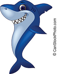 Smiling shark cartoon - Vector illustration of smiling shark...