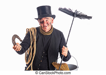 Chimney sweep wishing good fortune - New Year photo of a...