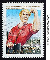 Franqueo, Canadá, Jos, estampilla, Leñador, monferrand, 1992...
