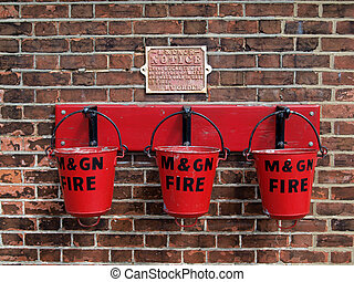 Fire buckets at Sheringham Station - Fire buckets at...
