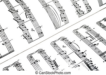 Sheetmusic - High contrast music notes sheet.