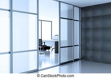 open glass door coupe in empty cubicle