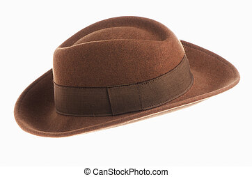 Brown vintage hat isolated on white background.