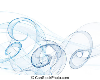 Smooth waves and swirl from blue tones on a white background