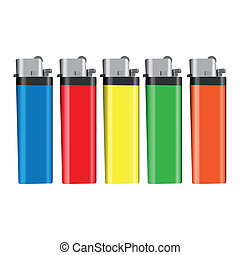 Lighters - Graphic illustration of lighters over white...