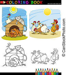Farm and Companion Animals for Coloring - Coloring Book or...