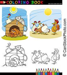 granja, compañero, animales, colorido