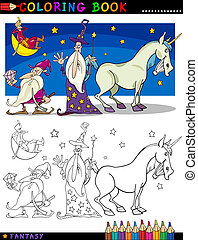 Fantasy Characters for coloring - Coloring Book or Page...
