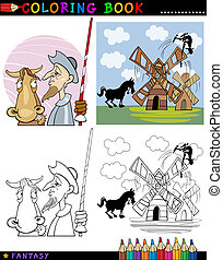 Don Quixote for coloring - Coloring Book or Page Cartoon...