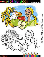 Healthy breakfast for coloring - Coloring Book or Page...