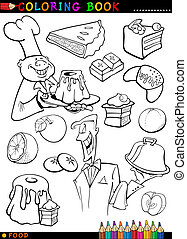 sweets and cakes for coloring