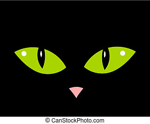 Cat eyes - Cute cat green eyes and nose in darkness. Vector...