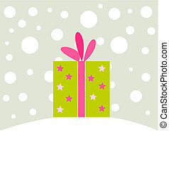 Christmas present in winter scenery Vector illustration