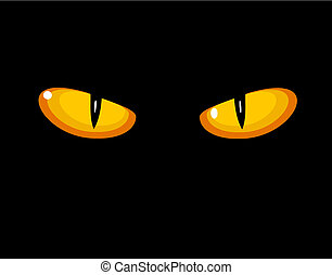 Wild cat eyes in darkness. Vector illustration