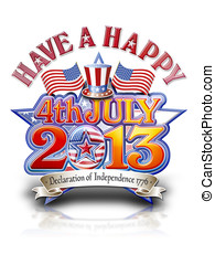 4th July 2013 Hat graphic - Have a happy 4th July 2013 Star...