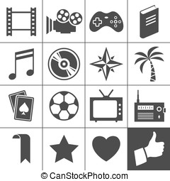 Entertainment icons Simplus series - Entertainment icon set...