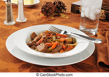 Pot roast - A bowl of beef pot roast with vegetables